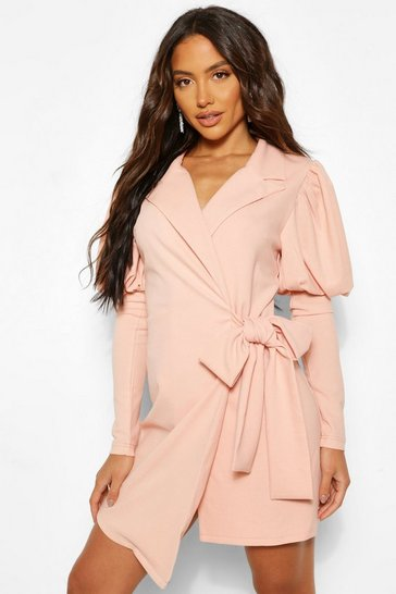Rose pink Puff Sleeve Wrap Blazer Dress