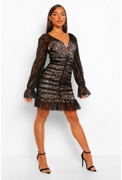 Black Lace Frill Hem Mini Dress