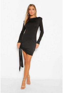 Black Shoulder Pad Draped Detail Mini Dress