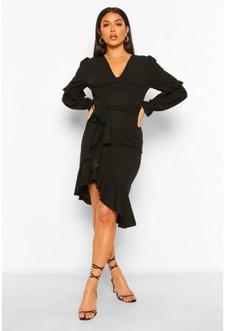 Black Asymetric Ruffle Detail Midi Dress