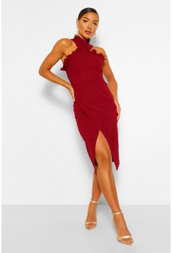 Berry red Frill Edge Wrap Over Midi Dress