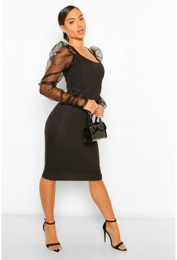 Black Organza Sleeve Corset Detail Midi Dress