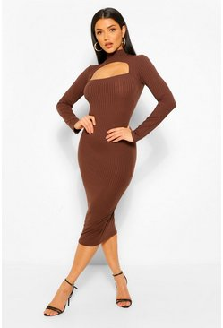 Chocolate brown Rib Cut Out Long Sleeve Midi Dress