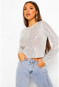 Silver Sequin Long Sleeve Top