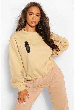 Pocket Buckle Detail Sweat , Stone beige
