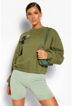 Khaki Camo Pocket Buckle Detail Sweatshirt