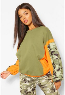 Khaki Camo Colour Block Sweater