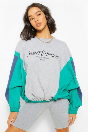 Grey marl grey Grey Colour Block Slogan Printed Sweater