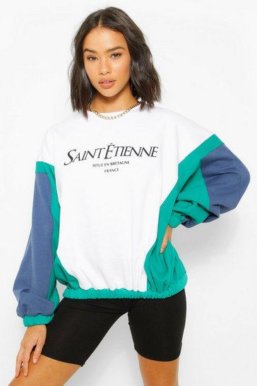White Colour Block Slogan Printed Sweater