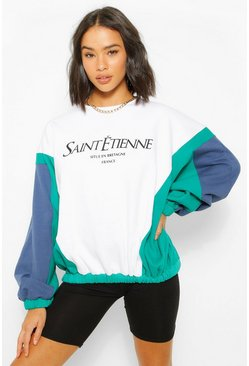 White Colour Block Slogan Printed Sweatshirter