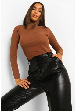 Chocolate Rib Long Sleeved Turtle Neck Top