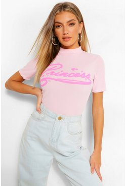Light pink pink PRINCESS PRINT RIBBED HIGH NECK TOP