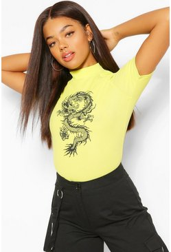 Lime green Dragon Print Ribbed High Neck Top