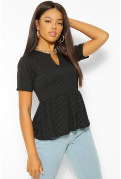 Black Ribbed Notch Front Peplum Top