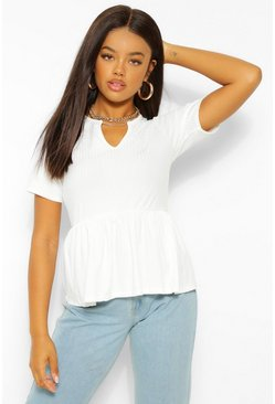 White Ribbed Notch Front Peplum Top