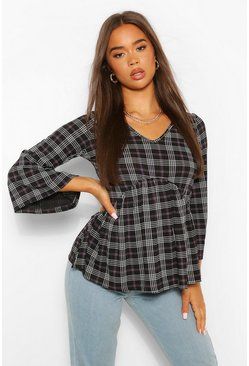 Black Check Print Ribbed Smock Top