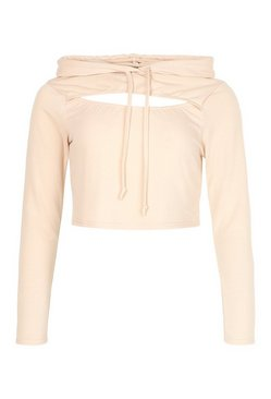 Stone Cut Out Crop Hoody