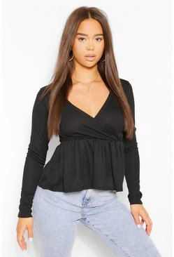 Black Ribbed Wrap Peplum Top