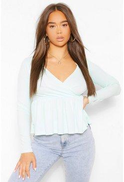 Mint green Ribbed Wrap Peplum Top