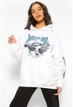 White Acid Wash Slogan Extreme Oversized Hoody