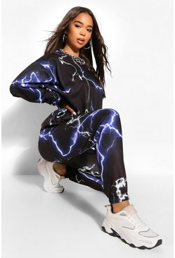 Black Lightening Bolt Oversized Jogger