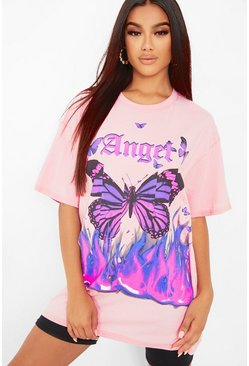 Hot pink pink Angel Butterfly Oversized T-Shirt