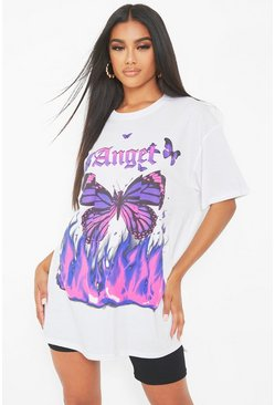 White Angel Butterfly Oversized T-Shirt