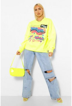 Lime Graffiti Print Oversized Sweatshirt