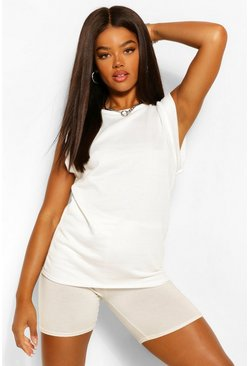 White Shoulder Detail Sleevless Sweatshirt