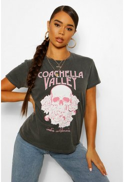 Washed Coachella Skull Rock Slogan T-Shirt, Charcoal grau