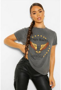 Charcoal grey Washed Eagle Rock Slogan T-Shirt