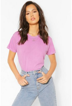 Basic Washed T-Shirt , Mauve violet
