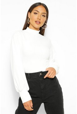 Ivory white Crepe High Neck Oversized Sleeve Top