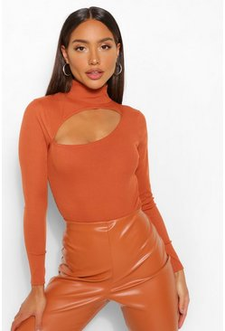 Terracotta orange Rib Cut Out High Neck Bodysuit