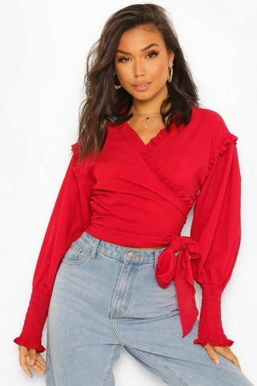 Berry red Red Woven Ruffle And Shirred Blouse