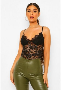 Black Premium Eyeleash Lace Panelled Bodysuit