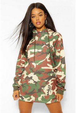 Khaki Camo Hooded Sweatshirt Dress