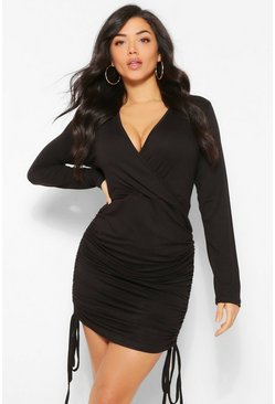 Black Wrap Front Rouched Sweatshirt Dress