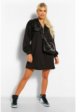 Black Zip Hooded Oversized Sweatshirt Dress