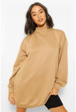 Camel beige High Neck Oversized Sweatshirt Dress