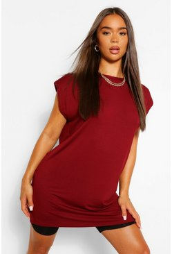 Berry red Tunic Shoulder Pad T- shirt