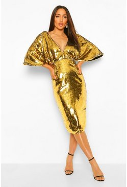 Gold metallic Sequin Plunge Batwing Midi Dress