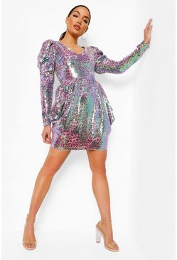 Pink Leopard Sequin Puff Sleeve Mini Dress
