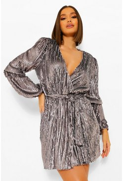 Gun metal metallic Sequin Puff Sleeve Mini Dress