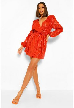 Orange Sequin Puff Sleeve Mini Dress
