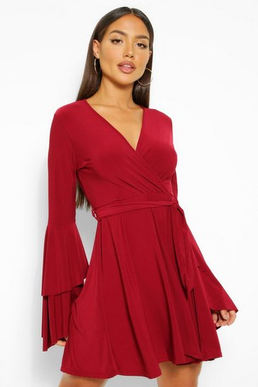 Berry red Plunge Neck Flared Sleeve Skater Dress