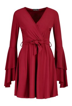 Berry Plunge Neck Flared Sleeve Skater Dress