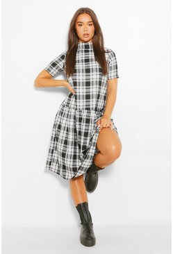 Black Check High Neck Midi Smock Dress