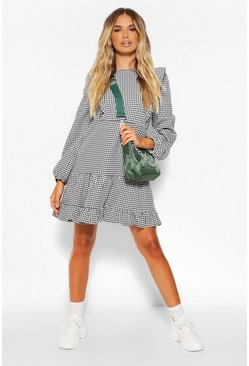 Black Dogtooth Ruffle Detail Drop Hem Skater Dress