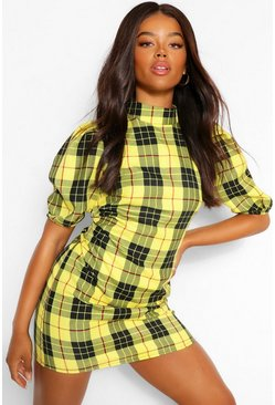 Mustard yellow Check High Neck Shift Dress